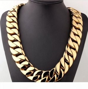 """hip hop 18K Gold Plated High Polished Miami Cuban Link Necklace Men Punk 32mm Curb Chain Dragon-Beard Clasp 28"""""""