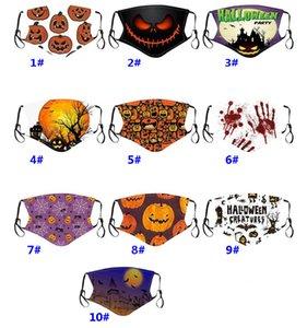 Impression de citrouille de Halloween Skeleton adulte enfants visage Mode Masque réglable anti-poussière peut être lavé masque de protection HH9-3362