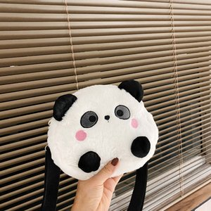 Cute Kids Cartoon Handbags New Baby Panda Girls Student Plush Doll Change Purse Children Mobile Phone Accessories Bag S866