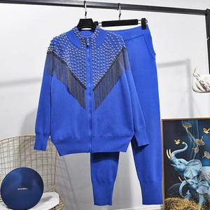 2020 Autumn Two piece Set Women's Heavy Riveting Nail Tassel Knitted Cardigan Jacket+Knit Pants Suit Women Luxury 2pcs Suit