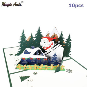 10 Pack Holiday Card Merry Christmas Gift New Year 3d Santa Claus Skiing Xmas Greeting Cards Wholesale Supplier