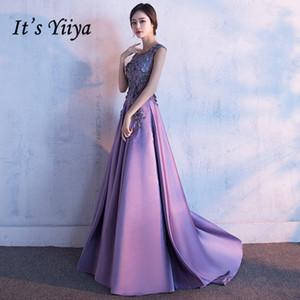 É de Yiiya elegante O-neck mangas Backless Vestidos Alta Qualidade Capela T Andar Comprimento do vestido Lx005 Y200930