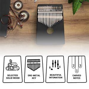 Maple Kalimba 17 Keys Thumb Piano with Tune Hammer Finger Marimba Instrument for Music Lover Beginners