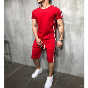 Men's Tracksuits Casual Summer Stripe Set Stripe Color Stitching Short Sleeve Sports Set Mens fz2966
