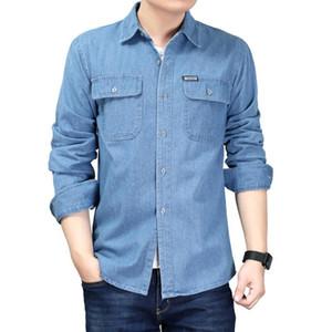 Cowboy Shirt Men 2021 Spring Denim Blouse Men Long Sleeve Plus Size Solid Blue Cotton Work Casual Shirts for Dress Shirt