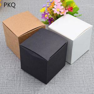 50pcs 5*5*5cm 6*6*6cm  7*7*7cm 8*8*8cm 9*9*9cm 10*10*10cm Black White Kraft Paper Square Candy Box Wedding Party Favor Gift Box1
