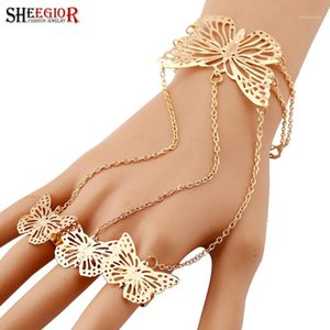 SHEEGIOR Lovely Finger Chain Bracelets Bangles for Women Fashion Jewelry Gold Silver Hollow Butterfly Charms Bracelet Femme Gift1