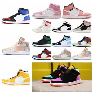 Yeni timAJ1 büküm panda orta milano pembe dijital ampul chicago Siyah Burun top Ayakkabı erkekler Bred Burun Mahkeme UNC patent spor ayakkabısı 5ad43