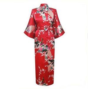 도매 - 붉은 중국 여성 실크 레이온 roves 긴 섹시한 잠옷 유카타 기모노 목욕 가운 잠옷 Pijama Feminino Plus 크기 XXXL1