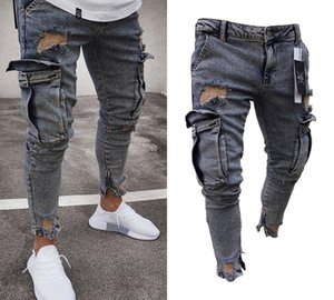 New Fashion Washed Jeans Mens Ripped Skinny Jeans Destroyed Frayed Slim Fit Denim Pocket Pencil Pant Size66