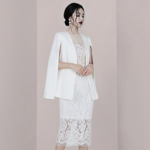 abito bianco dresssling bretella del vestito 2020 elegante pizzo fascia alta Shte7 Meizi Youpin scialle 9aXdw due pezzi vestito