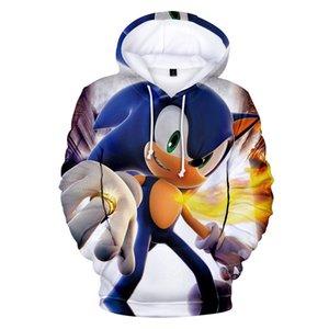Sudaderas con capucha de los niños de dibujos animados en 3D de Sonic Niños Sonic Hedgehog la camiseta de la historieta sudaderas Tops Otoño 2021 Harajuku ropa Ypf913