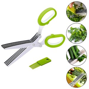 5-layer Multifunctional kitchen Scissors Stainless Steel Multi-layer Scissors Crushed Onion Oil Spice Scissors Cooking Tools DHL Free