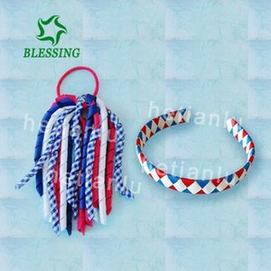 16 Fille 4.5 Drapeau national des cheveux Bow clip Cheer leader Ponytail bandeau élastique M28Q #