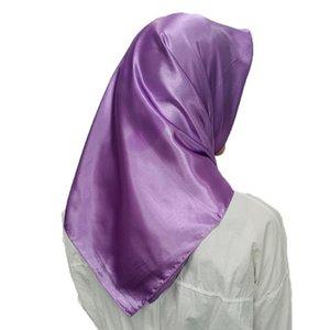 1 pc headpiece muçulmana cabeça lenços macio seda sensação xale cabeça envoltórios cor sólida lenço lenço grande quadrados lenços cachecol q bbywtd