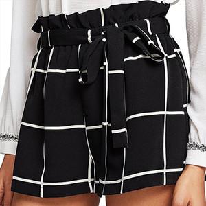Womens Plaid Mid Loose Waist Hot Shorts Trousers Jersey Walking short mujer denim shorts Ladies High Waist spodenki