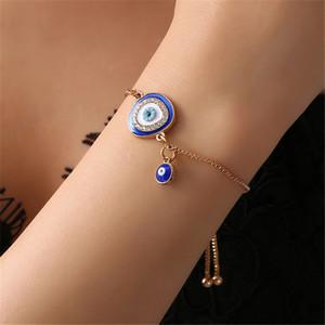 Onevan Kostenloser Versand Türkisch Blue Crystal Blicks-Armband-handgemachte Goldketten-glückliche Schmucksachen Familie Geeignete Geschenke