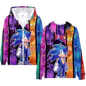 Winter Mens Jackets and Coats Sonic The Hedgehog 3D Hoodie Fleece Zipper Hooded Sweatshirt Outwear Casual Sportswear Kawaii Clothes