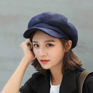 Auutmn inverno chapéus para mulheres sólida liso octogonal newsboy cap homens senhoras casual lã chapéu inverno boina mulheres pintor boné