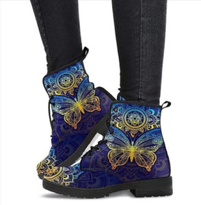 New Women Snow Ankle Boots Motorcycle Skull Pansy Low Heels Shoes Woman Vintage Pu Leather Warm Winter High Platform Skeleton