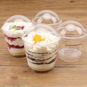 Transparent 200ml Tiramisu Ice Cream Cup Plastic Mousse Cake Cup Einweg Jelly Cup mit Deckel Pudding Dessert Sets Party Supplies GGE2003
