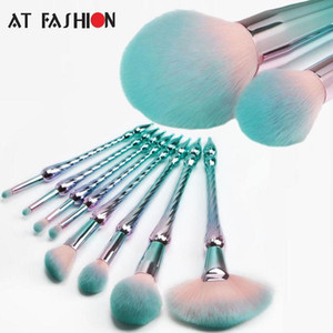 Hot Sale New Style 8pcs Makeup Brush Set Professional Foundation Powder Cosmetic Brush Kit High Quality Mermaid Brushes Green Free Shipping
