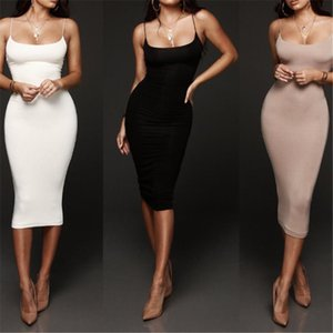 Sexy Women Dresses Bandage Dress Summer Casual Tight Cocktail Party Halter Sleeveless Bodycon Black White Gray