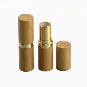 Wholesale 12.1MM Bamboo Empty Lipstick Tubes Container Lipgloss Lip Tubes Bamboo Gold Shell MakeupLip Stick Bottle