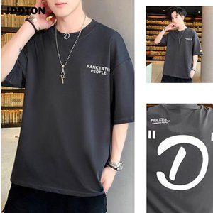 JDDTON Summer Mens Cotton Pullover T-shirts Harajuku Retro Japanese Style Solid Color Casual Short Sleeve Loose Streetwear JE423