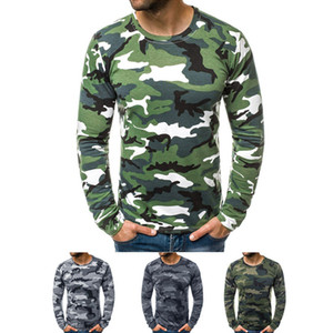 Mens Camouflage Round Neck T-shirt Clothing Fashion Trend Long Sleeve Casual Skinny Tops Tees Spring Male New Slim Folds Tshirt