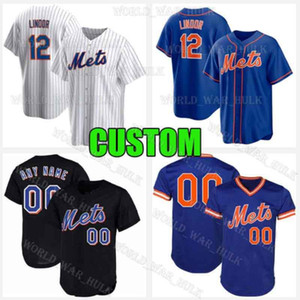 12 Francisco Lindor Jersey 2020 Novo Custom Mets Pete Alonso Jacob Degrom York Baseball Jerseys Mike Piazza Keith Hernandez Dwight Gooden