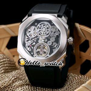 New Octo Finíssimo Tourbillon 102719 Esqueleto Dial pulseira de borracha Automatic Mens Watch Aço Caixa preta Esporte Gents Relógios BVHL Hello_watch