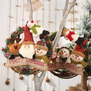 Feliz Navidad de la guirnalda de la guirnalda de la decoración de colgar de la pared de la puerta de Santa Claus Elk muñeco de nieve Adornos de Navidad colgante JK2010XB