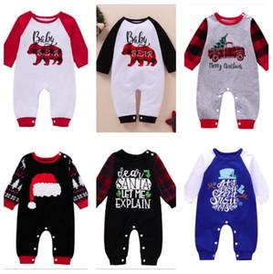 Noël Nouvel An Baby Barboteuses manches longues Romper Jumpsuit monoblocs Pantalons bébé bébé enfants Patchwork Plaid Cartoon Salopette Outfit E102202