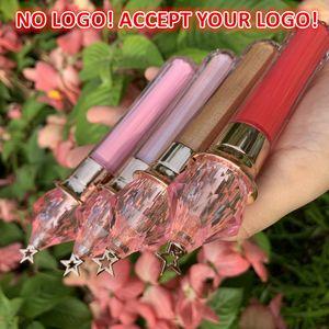 로고 없음! 핑크 크리스탈 립글로스 마술 지팡이 골드 스타 립글로스 60colors 긴 지속되는 액체 무광택 립스틱 맞춤 로고를 받아들입니다!