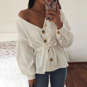 FengGuilai V Boyun Rahat Kadife Gömlek Kadın Sonbahar Uzun Fener Kol Seksi İpli Üst Moda 2021 Bayan Üstleri ve Bluz