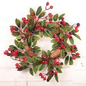 Festival Día de Acción de Gracias Día Berry Pine Flower Guirnalda DIY Flor artificial Guirnalda Inicio Oficina Hotel Puerta de pared Decoración de la ventana1