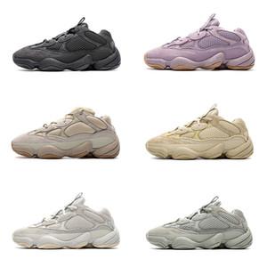 Mens Kanye West 500 Sneakers Womens Blush Pedra Soft Vision Sal de Sal Branco Utilitário Preto Super Lua Amarelo Tênis