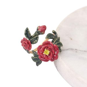Juicy Grape hand painted enamel ring jewelry red flower prong open adjustable fashion finger ring trendy hot sale