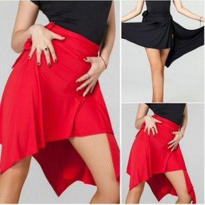 Women Ballroom Latin Salsa Tango Skirt Dance Skate Scroll Scarf Dancewear Wrap Scarf Red Black Waist High Dancewear 904 A093