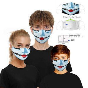Free Shipping Adults Kids Horror Ghost Anime Party Halloween Face Masks 3D Printed Cotton Washable Reusable Mouth Cover