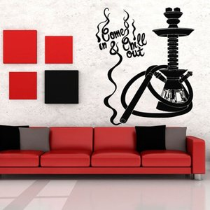 Hookah Bar Wall Stickers Home Decor Bedroom Shisha Quote Art Wall Decals Wall Vinyl Decors Pattern Pure Color Removable