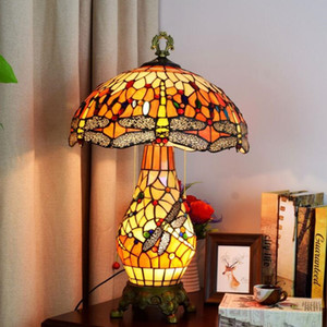 Joyería moderna de la libélula lámpara de mesa lámpara de mesa Estilo TIFF italiana adornada Lámparas Stained Glass Room Decor Yeelight Luz envío FEDEX