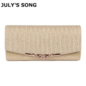 JULY'S SONG Shiny Women Evening Wedding Clutch Bag With Chain Luxury Glitter Party Bridal Ladies Handbags Bolsa Mujer Q1113