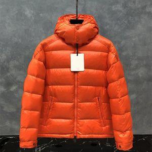 오렌지 겨울 재킷 남성 겨울 코트 유니섹스 윈드 브레이커 다운 재킷 Doudoune 따뜻한 파카 패션 여성 복어 재킷 후드