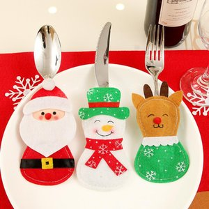 Christmas Tableware Bags Dining Restaurant Table Christmas Decoration 3styles snowflake Knife Fork Holder Socks Tableware Bags GWB2052