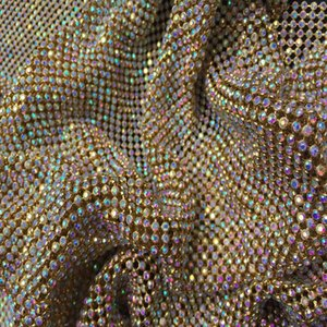 ZY Chunky Glitter AB Rhinestones GOLD Metal Mesh Fabric Metallic cloth Metal Sequin Sequined Fabric Home Decoration Curtain1
