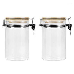 Бутылки для хранения JARS 2 шт. Прочный GL Герметичный банка бамбуковая крышка канистра повторно используемая банка для зерна Candy1