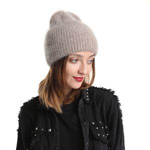New 30% Rabbit Fur Beanie Hat Women Winter Hats Bling Sequins Knitted Warm Skullies Beanies For Women Gorros Female Cap 201008