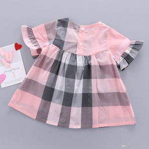 3 Color kids designer clothes girls Beige plaid princess dress 100% cotton dress 2021 children's clothing baby girl clothes B202